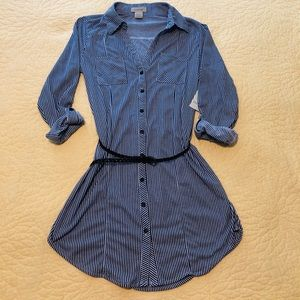 Blue and White striped button up shirt dress